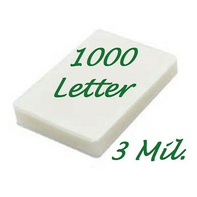 Ultra Clear Letter Thermal Laminating Laminator Pouches 1000 9 x 11-1/2 3 Mil