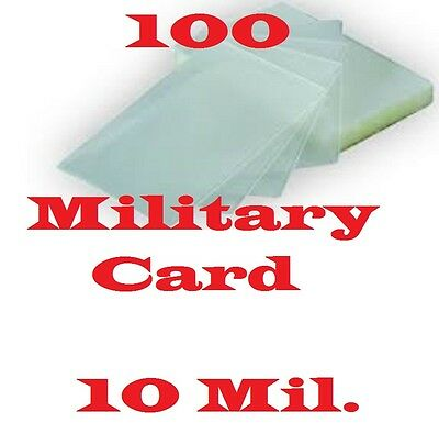 100 MILITARY CARD Laminating Laminator Pouches Sheets 10 Mil. 2-5/8 x 3-7/8