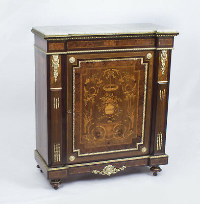 Antique French Burr Walnut Marquetry Side Cabinet c.1860