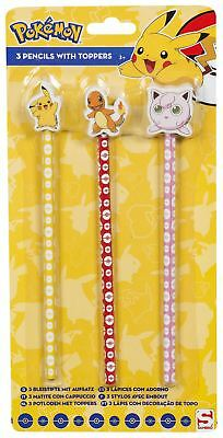 POKEMON Pikachu Novelty Pencil Set of 3 Pencils with Eraser Toppers