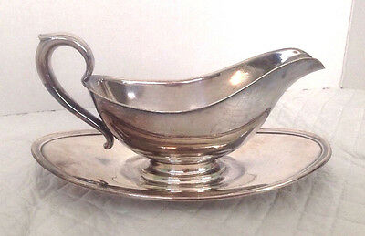 Vintage Gorham Silver Plated Gravy Boat Colonial Pattern Attached Saucer