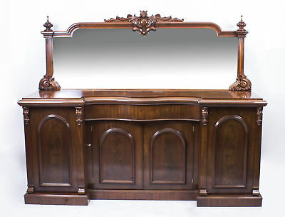 Antique Victorian Flame Mahogany Sideboard Chiffonier C1870