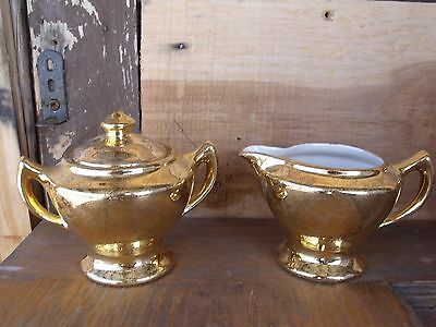 VTG Hand Decorated Warranted 22K Gold Cream & Covered Sugar Bowl Floral Pattern