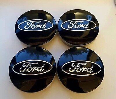 4x Black FORD FITS MOST NEW MODELS 54MM ALLOY WHEEL CENTRE CAPS