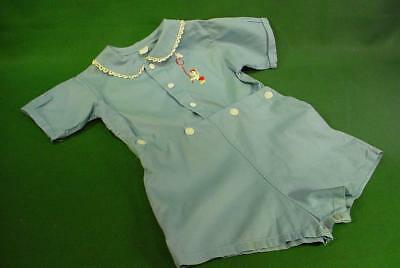 VINTAGE 1950s BABY BOY BUTTON UP COTTON ROMPER SIZE 2?  NICE FOR DOLL CLOTHES