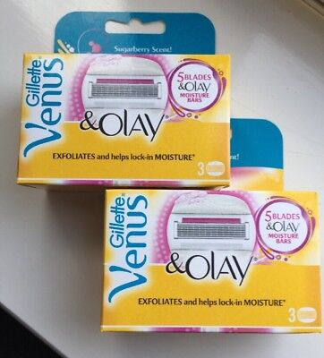 2 X Gillette Venus & Olay Sugarberry Scent Pack of 3 Razor Blade Cartridges