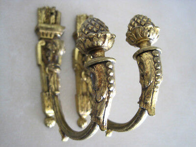Antique French Pair of Gilt Bronze Curtain Tiebacks Ornate Pine Cone Finials