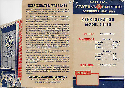 Vintage General Electric Consumers Institute Refrigerator Tag 1947