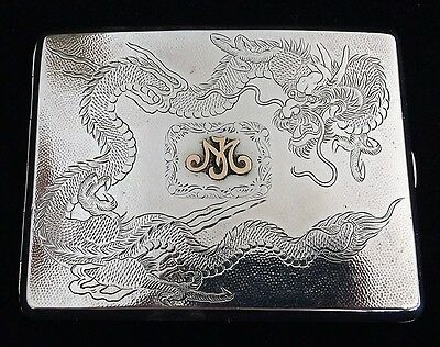 Chinese Antique Export Solid Silver Wing On & Co Dragon Cigarette Case Marked