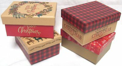 Set Of 4 Small Christmas Gift Boxes With Lid 8.5cm x 11.5cm Traditional Tartan