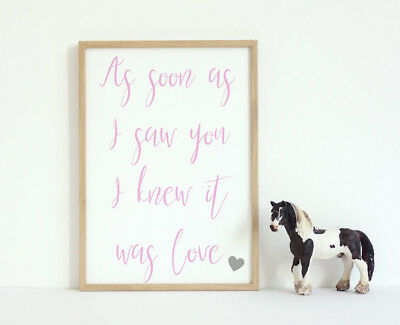 Baby Gift Quote Art Print It Was Love Pink Heart Nursery Decor A4 Girls Room