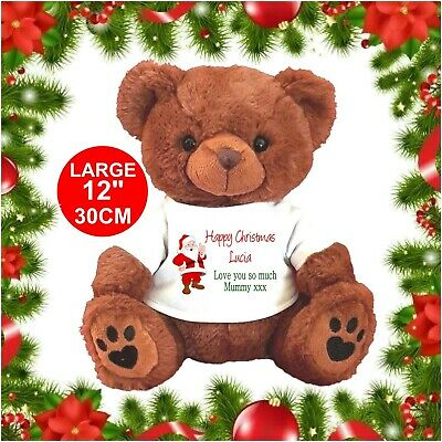 Personalised Teddy Bear Brown / White Christmas Santa  Any Occasion Gifts