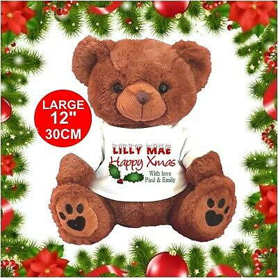 """Personalised Teddy Bear Brown 25Cm/10"""" Sitting Christmas Holly Gifts"""