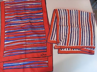 Vintage Vera Scarves Lot of Two-Stripes! Red, White Blue