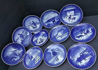 Vintage Royal Copenhagen Denmark collector's plates  lot of 11 from 1968/1990