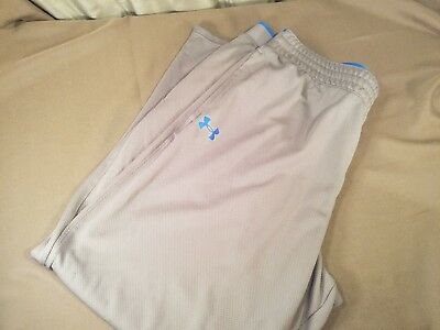 Men's Under Armour Loose 2XL XXL Workout Running Athletic Pants Gray Blue Trim