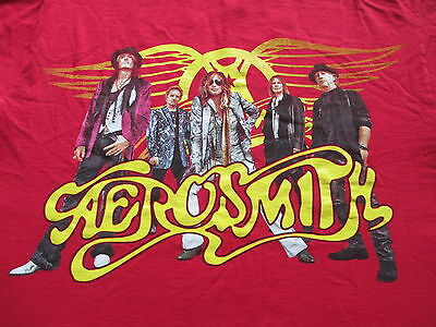 Aerosmith Global Warming Tour Red Yellow Black T Shirt Size M Medium L Large