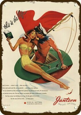 1946 JANTZEN Vintage Look Replica Metal Sign - SEXY WOMEN PIN-UP ON SAILBOAT