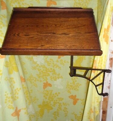 Antique 1900 Ideal Desk Extension Cast Iron & Ash Wood Ideal Desk Extension Co.