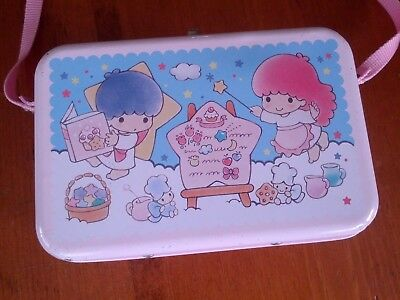 Vintage Little Twin Stars SANRIO METAL Purse LUNCH BOX with Strap