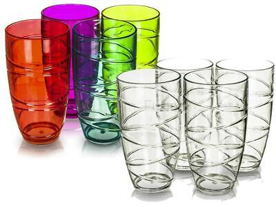 4 x LIVIVO CLEAR/COLOUR SWIRL PLASTIC ACRYLIC HI BALL TUMBLERS LRG DRINK GLASSES