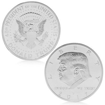 American 45th President Donald Trump Silvery Commemorative Coins Token HOT C