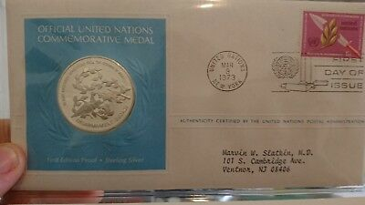 united nations silver proof medal / coin 1973 silver proof 25g pnc