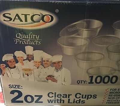 CHEAPEST ON EBAY SATCO HEAVY DUTY CLEAR 50x 2oz PLASTIC CUPS & Lids.
