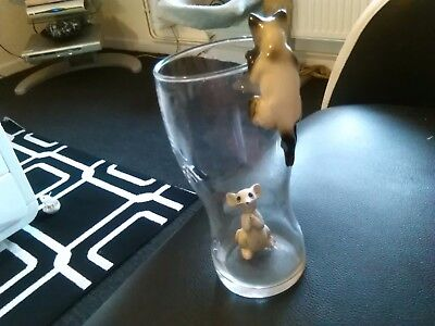 Vintage Porcelain cat & mouse for large brandy glass gc