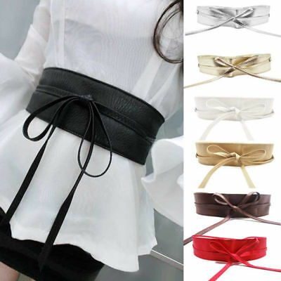 Womens Lady Stretch Buckle Waist Belt Bow Wide Leather Elastic Corset Waistband,