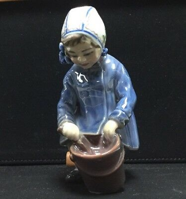 Dahl Jensen Copenhagen Denmark Porcelain Figurine, Girl With A Bucket, 1151