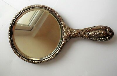 Antique Art Nouveau Design E.p.n.s Silver Plated Circular Hand Mirror