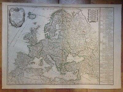 EUROPE DATED 1797 by DELAMARCHE-VAUGONDY LARGE COPPER ENGRAVED MAP