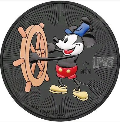 2017 1 Oz Silver STEAMBOAT WILLIE MICKEY MOUSE Coin WITH 24K BLACK RUTHENIUM.