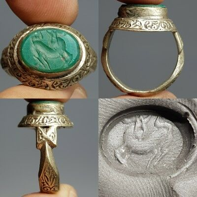 Deer Old Wonderful Jade intaglio Stone Silver Ring #i