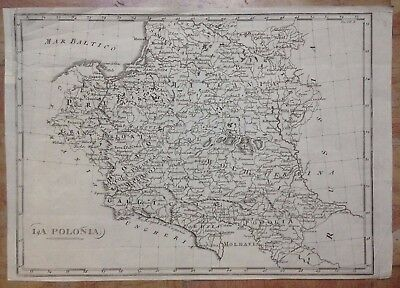 POLAND XIXe CENTURY by ANONYMOUS ANTIQUE STELL ENGRAVED MAP ITALIAN EDITION