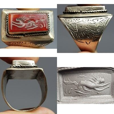 Near Eastern AGate Old Stone Silver Wonderful Ring # F