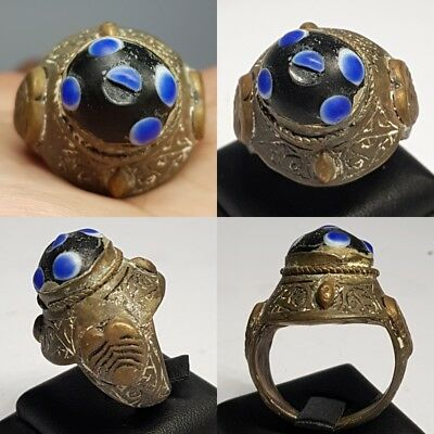 Very Old Mosaic Glass Phoenician Bronze Ring # F