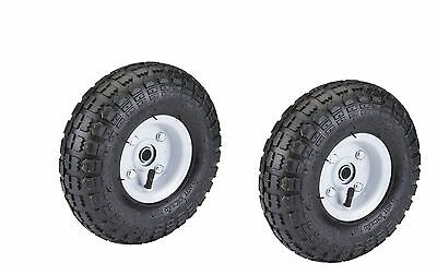 "2 Tire SET 10"" inch Pneumatic Tire Wheel STEEL HUB Lawn Dolly Wagon Cart Knobby"