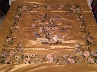 Antique Chinese Silk Embroidered Bird Panel Wall Hanging