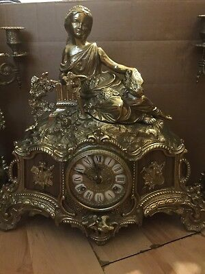 Beautiful Antique French Gilt Brass Mantle Clock With Garnitures