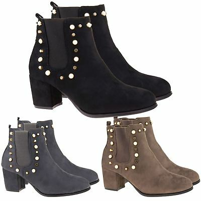 6ba373b8830 New Womens Chelsea Ankle Boots Ladies Studded Low Mid Block Heel Shoes Size  3-8