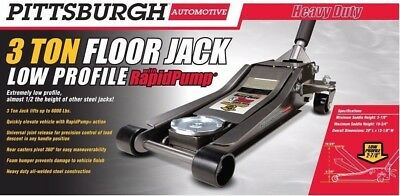 Floor Jack 3 Ton Very Low Profile Steel Heavy Duty with Dual Piston Rapid Pump®