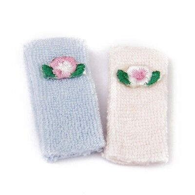 500x(1/12 Bath towel Doll house Miniature Towels 2 Pieces Pink and Blue T2Q3