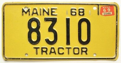 Vintage Yellow Maine 1968 1969 TRACTOR License Plate 8310