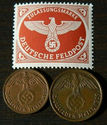 Set of Germany coins - 1 and 2 Reichspfennig 1939F with stamp (#6013)