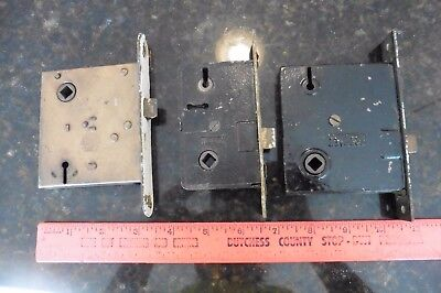 LOT of 3 Mortise Door Lock Vintage brass metal skeleton key RussellErwin Norwalk