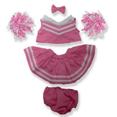 """PINK CHEERLEADER OUTFIT FITS 15""""-16"""" (40cm) TEDDY BEARS AND BUILD A BEAR"""