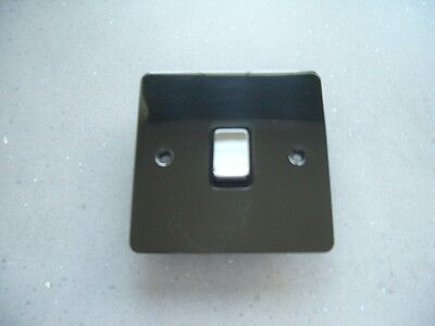 1 gang 1 way black nickel light switch flat plate CED FS11/BC