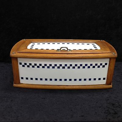 Antique European Porcelain And Wood Breadbox Villeroy & Boch Blue & White China